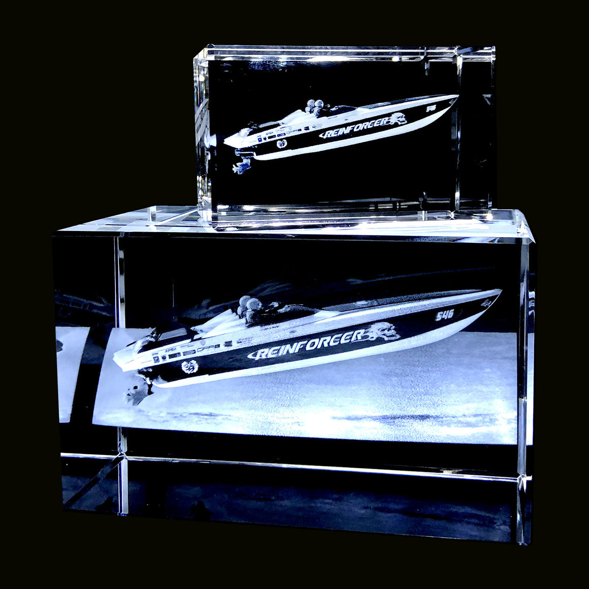 RECTANGULAR LANDSCAPE  OF YOUR BOAT  or VEHICLE 3D IN SMALL CRYSTAL