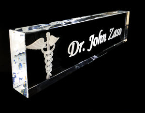 "Name Plate in optical crystal 10"" Starting at"