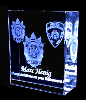 "SQUARE HIGHLY POLISHED OPTICAL  LARGE CRYSTAL WITH 3D IMAGES  5""x5""x2"""