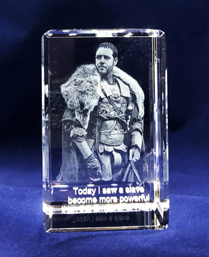 "YOUR PET OR ANY PRECIOUS MEMORY IN 3D INSIDE A SMALL RECTANGULAR CRYSTAL (Portrait 2""x3""x2"")"