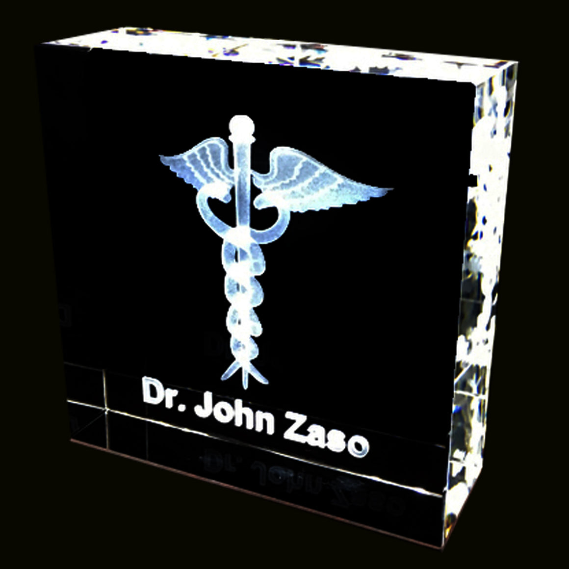 Medical Caduceus 3D personalized Crystal