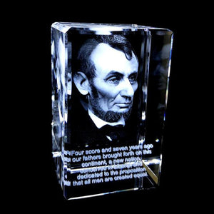 ABRAHAM LINCOLN IN A SMALL RECTANGULAR CRYSTAL
