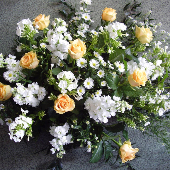 Oasis Spray of Gold Roses and White Garden Flowers