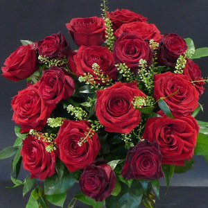 12 Red Naomi Roses With 6 Black Baccara Roses With Mixed Foliages
