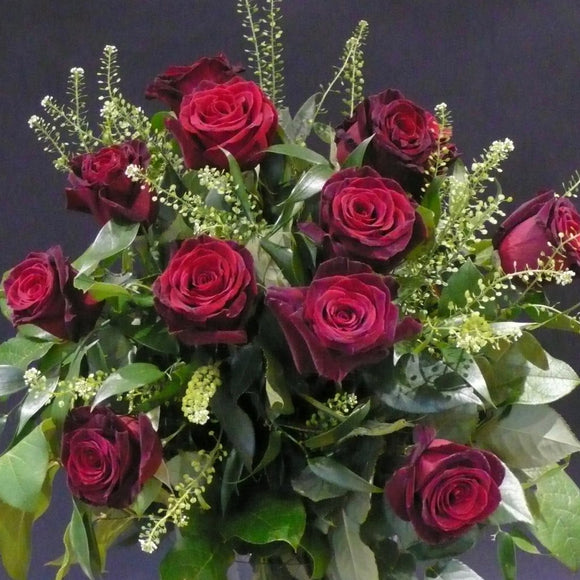 12 Black Baccara Roses With Mixed Foliages