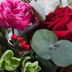 Winter Reds and Pinks Roses with mixed seasonal foliage and berries (Vase included)