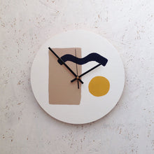 Abstract wall clock with brown rectangle, navy wiggle and mustard yellow circle