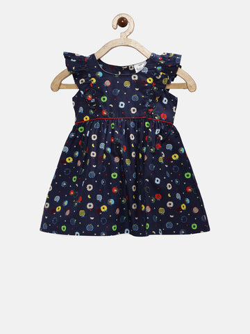 6e8c14999 Doodle Girls Navy Blue Printed Fit   Flare Dress – Doodle Girls Clothing