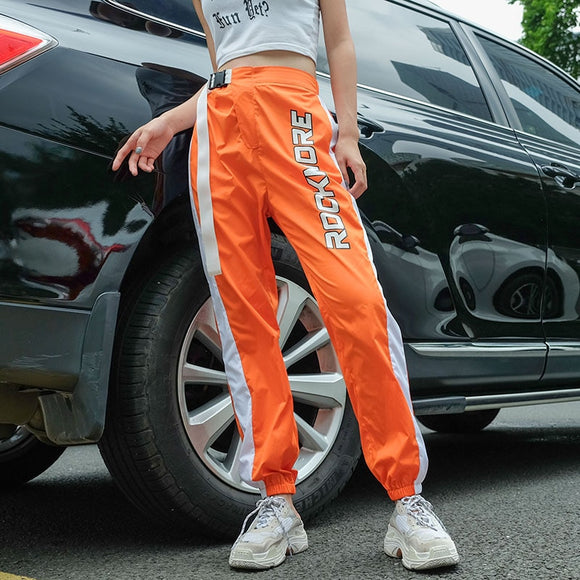 Jogger Pants Women Orange Side Patchwork High Waist Pants Printed Belt Buckle - layanestore.myshopify.com-[product_type]