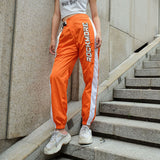 Jogger Pants Women Orange Side Patchwork High Waist Pants Printed Belt Buckle - Layon&Loli