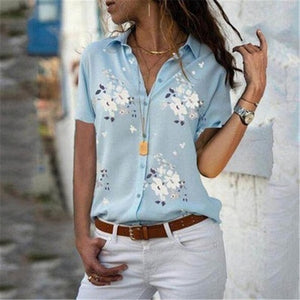 Floral Print  Blouses Ladies Casual V Neck Chiffon Blouse Female Summer Autumn Plus   Size 5XL 4XL - layanestore.myshopify.com-[product_type]