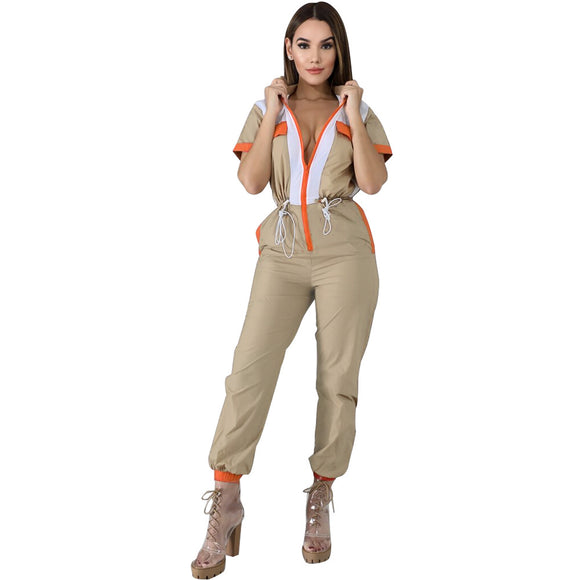 Vintage Patchwork Zipper Female Jumpsuit Casual Short Sleeve - layanestore.myshopify.com-[product_type]