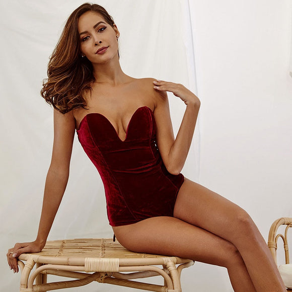 Woman Sleeveless Strapless Velvet Bodysuit Sesy Backless - Layon&Loli