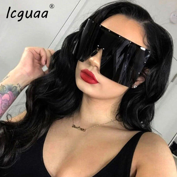 Trend Oversized Sunglasses Women Men Rivet Sun Glasses - Layon&Loli