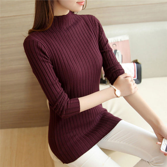 2019 New Autumn Winter Women Sweaters Fashion Turtleneck Pullovers - Layon&Loli