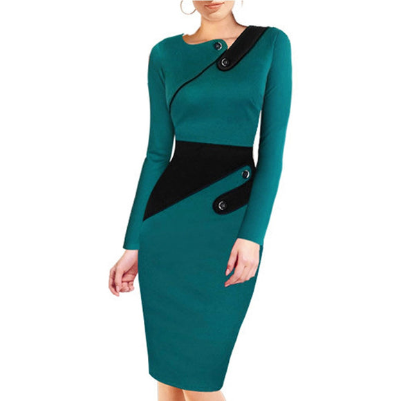 Black Dress Tunic Women Formal Work Office Sheath Patchwork Line Asymmetrical Neck Knee Length Plus Size - Layon&Loli