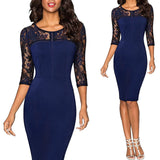 Women Elegant Embroidery Floral Sexy See Through Lace Party Work Business - Layon&Loli