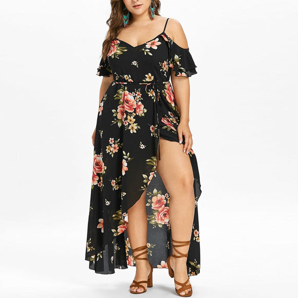 Ruffle Beach Flower strap Summer Dress 2019 Floral Print Tunic Maxi Long Dresses Big Size 5XL - layanestore.myshopify.com-[product_type]