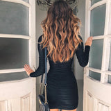 Satin long sleeve high neck high waist bodycon sexy mini dress autumn winter women fashion party D890476 - Layon&Loli
