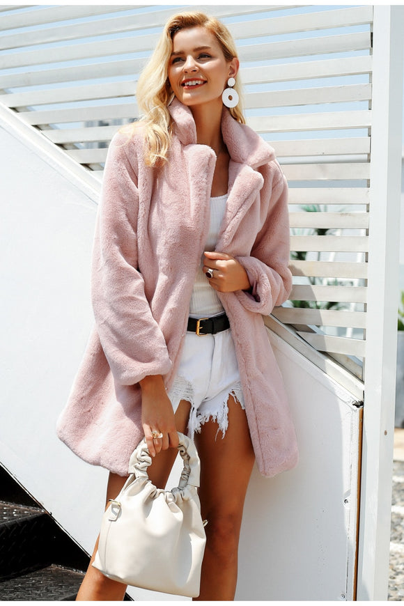 Elegant pink shaggy women faux fur coat street wear Autumn winter warm plush teddy coat Female plus size overcoat party - Layon&Loli