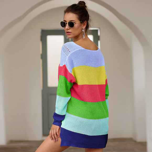 Casual Rainbow Striped Sweater Oversized Sweaters 2019 - Layon&Loli