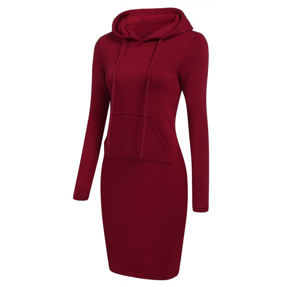 Women Pullover Solid Pocket Knee Length Slim Sweatshirt Causal Hoodie Plus Size - Layon&Loli