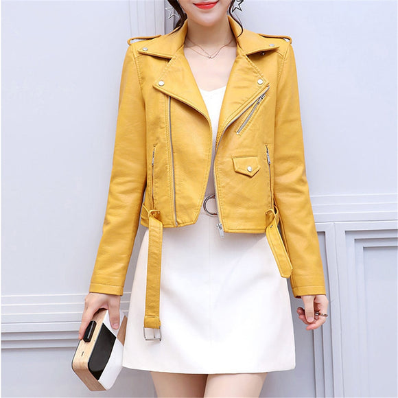 Winter Women Motorcycle PU Leather Coat Jacket 2019 Casual Long Sleeve Short Faux Leather Jackets - Layon&Loli