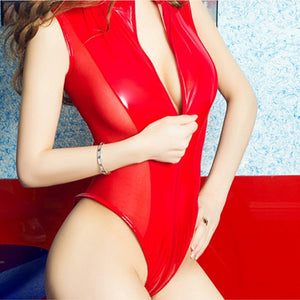PU Leather Wetlook One-piece Bodysuit Front Zipper Leotard Rompers Catsuit - Layon&Loli