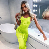 Sale- Neon satin lace up  summer women bodycon long midi dress sleeveless backless elegant party outfits - Layon&Loli