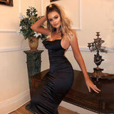 Sale- Neon satin lace up  summer women bodycon long midi dress sleeveless backless elegant party outfits - layanestore.myshopify.com-[product_type]