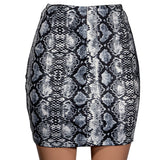 Snake Print Skirt Summer High Waist Mini Skirt Short Pencil Bodycon Plus Size - Layon&Loli