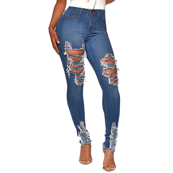 Jeans  Woman High Waist Long Pants Hollow Out Hole Skinny Cowboy Woman  Plus Size 2XL - Layon&Loli