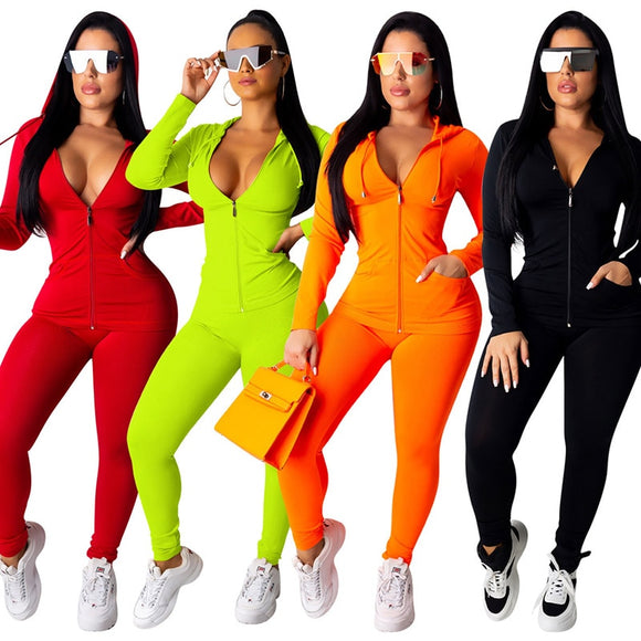 Hooded Two Piece Tracksuit Plus Size - Layon&Loli