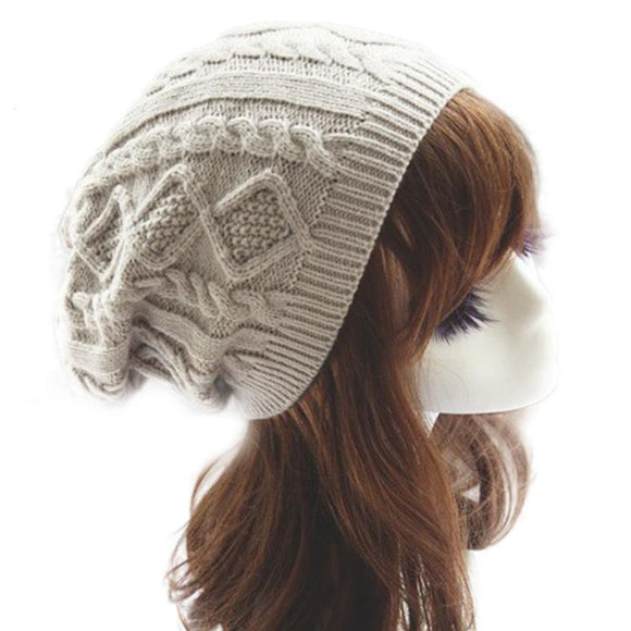 Women Knitted Wool Twist Skullies Beanie hat - Layon&Loli