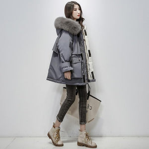 Large Natural Fox Fur Hooded Winter Jacket Women 90% White Duck Down Thick Parkas - Layon&Loli