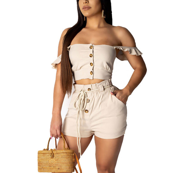 Sexy Two Piece Tracksuit Women's Suit Slash Neck Crop Top Shorts 2019 - Layon&Loli