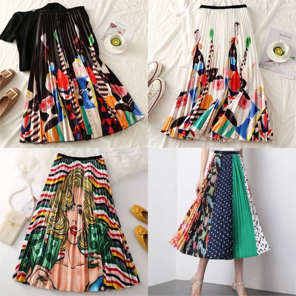 Women Long Pleated Skirt Plus Size Cartoon Print - layanestore.myshopify.com-[product_type]