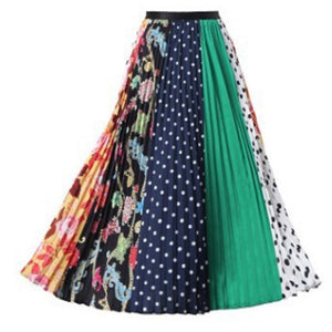 Women Long Pleated Skirt Plus Size Cartoon Print - Layon&Loli