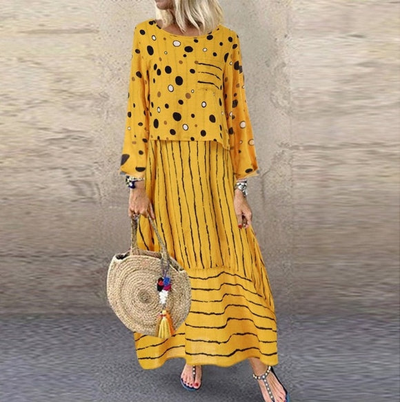 long maxi dresses Polka dot large loose fake two-piece cotton linen dress autumn plus size - Layon&Loli
