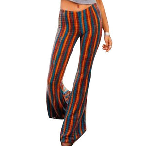Women High Waist Jersey Flares Boho Skinny Wide Leg  Long Pants - Layon&Loli