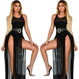 Sheer Mesh Double High Slit Summer Beach Party Dress - Layon&Loli