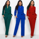 Elegant Office Ladies Jumpsuit with Belt Pocket - Layon&Loli