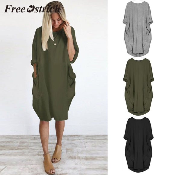 2019 Womens Fashion Pocket Loose Dress Plus Size Solid Round Collar Dress - layanestore.myshopify.com-[product_type]