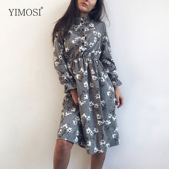 Autumn Winter Women Corduroy Dresses Casual Long Sleeve Flower Print - layanestore.myshopify.com-[product_type]