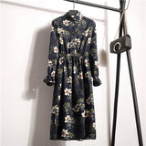 Autumn Winter Women Corduroy Dresses Casual Long Sleeve Flower Print - Layon&Loli