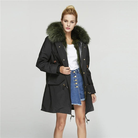 Windproof Coat with Detachable Real Raccoon Fur Lining Warm Jacket Raccoon Fur - Layon&Loli