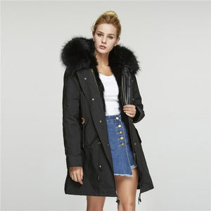 Parka Windproof Coat with Detachable Real Raccoon Fur - Layon&Loli
