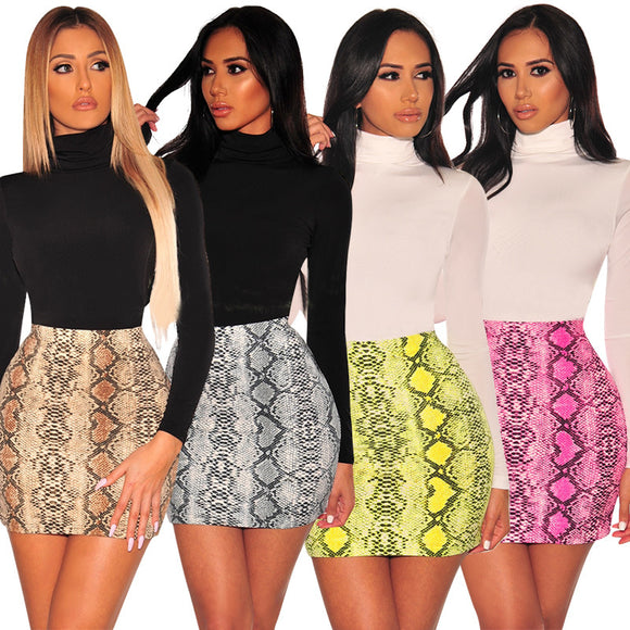 Snake Print Skirt Summer High Waist Mini Skirt Short Pencil Bodycon Plus Size - layanestore.myshopify.com-[product_type]