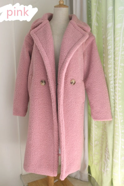 teddy coat faux fur long coat women lamb fur coat - layanestore.myshopify.com-Jacket