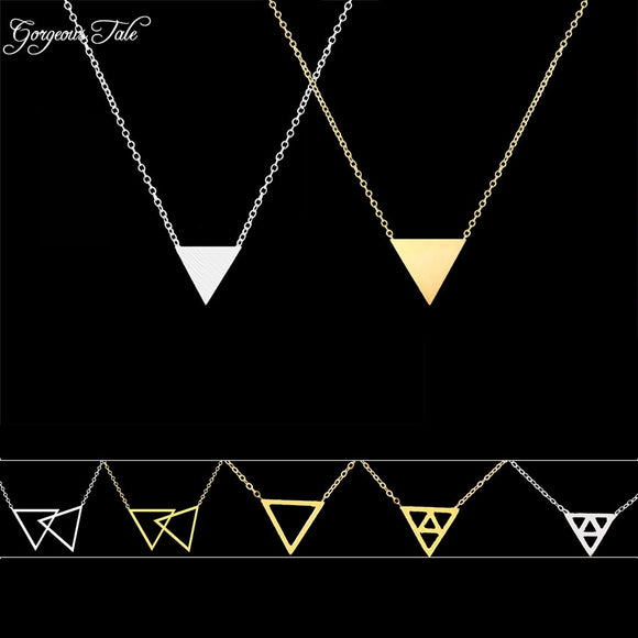 TALE Fashion Geometric Pendant Gold Color Statement Necklace - Layon&Loli